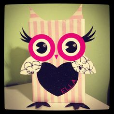 Owl Valentine Box made from a cereal box, wrapping paper & other items found around the house.