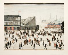 """""""Going to the Match by Laurence Stephen Lowry 1953 ( People going to watch Bolton Wanderers at Burnden Park. Salford, Banksy, Bolton Wanderers, Tate Britain, Spencer, English Artists, Gcse Art, Art Uk, Naive Art"""