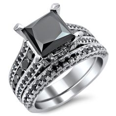 18k White Gold 3.8ct TDW Princess Cut Black Diamond Ring Set | Overstock.com Shopping - The Best Deals on Engagement Rings