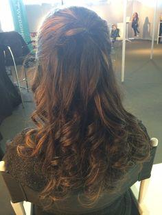 Half up/half down with drop curls