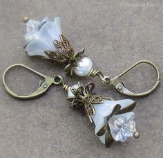 Antique Brass White Lucite Flower Earrings Pearls by DesignsbyCher