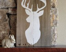Buck Silhouette - Reclaimed Wood Sign, Deer Art, Rustic Cabin Decor, Repurposed, Buck Wall Art, Custom Color, 11x22, Stag, John Deere