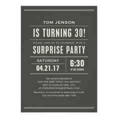 Surprise 30th Birthday Invitations 50th Party Favors