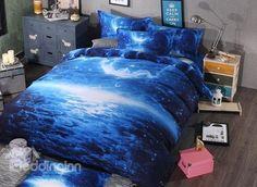 Creative Design Moon Night 4-Piece Duvet Cover Sets #bedroom #bedding #galaxy