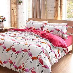 Flamingo Duvet Cover Sets 100 Cotton - USD $78.99