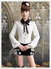 White Black Collar Rose Vintage Style Button Down Long Sleeve Shirt