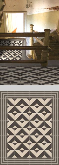 Geometrical (tiled floor, Golem Kunst tiles) SW: Use partial as sweater border - in two-tone