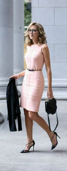 What to wear to a client meeting {blush sheath dress, black double breasted…