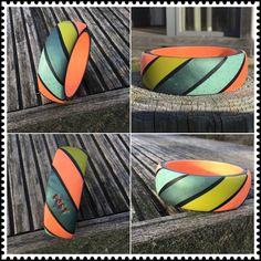 Polymer, clay, bangle, mosaic, Premo, Cernit, Fimo neon Surfboard, Polymer Clay, Mosaic, Bangles, Neon, Fimo, Jewerly, Bracelets, Mosaics