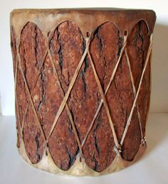 """Hand Crafted Large Tree Trunk & Rawhide Drum 17"""" X 18"""""""