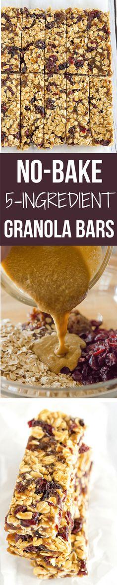 No-bake five ingredient granola bars