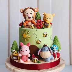 Who has seen the new Christopher Robin movie? 💕 Winn… Who has seen the new Christopher Robin movie? 💕 Winnie the Pooh cake by Lisa Martin. Winnie The Pooh Cake, Winnie The Pooh Birthday, Baby Birthday Cakes, 1st Boy Birthday, Disney Cakes, Baby Party, Cute Cakes, Baby Shower Cakes, Eat Cake