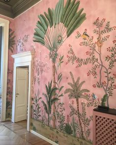 A bit of interior inspiration this morning with this stunning wall mural. Th colours are just lovely. Do let me know if you know the source… Hand Painted Wallpaper, Of Wallpaper, De Gournay Wallpaper, Painted Wall Art, Pink And Green Wallpaper, Parrot Wallpaper, Monkey Wallpaper, Interior Wallpaper, Chinoiserie Wallpaper