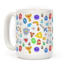 Keep all your important weapons and gadgets nearby with this nerdy, Legend of Zelda inspired, gamer, video game, inventory pattern coffee mug!
