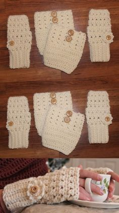 Leg Warmers 163587: Handmade Crochet Set Cream Off White Fingerless Gloves Hand Warmers And Boot Cuffs -> BUY IT NOW ONLY: $32.99 on eBay!