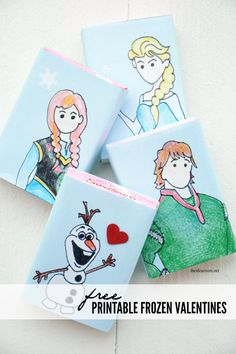 Free Printable Frozen Valentines. Make Valentines at home this year #valentinesday #print