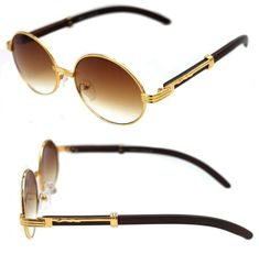 248c259b7e Men's Womens Round Sunglasses Quavo Bad and Boujee Hip Hop Brown Wood Gold  Frame #Unbranded