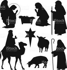 Christmas Nativity Silhouettes royalty-free stock vector art