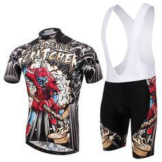 Men's Black Skeleton Short Sleeve Cycling Jersey Set #Cycling #CyclingGear #CyclingJersey #CyclingJerseySet