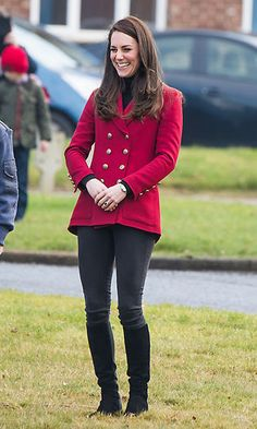 The Duchess of Cambridge was Valentine's Day ready wearing a double-breasted twill blazer by Philosphy Di Lorenzo Serafini for her visit with the RAF Air Cadets at RAF Wittering in Stamford, England.    Photo: Samir Hussein/Samir Hussein/WireImage