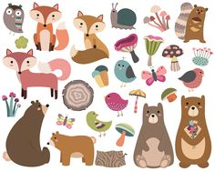 Woodland Forest Animals Clipart - Set of 29 PNG, Vector & JPG Files - Spring, Summer, Flowers, Birds, Cute Hand Drawn Clip Art