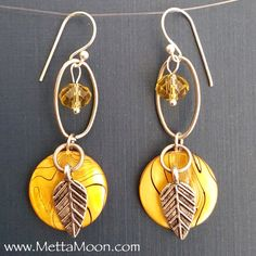 MettaMoon Accent Yellow Crystal and Shell Earrings by MettaMoon