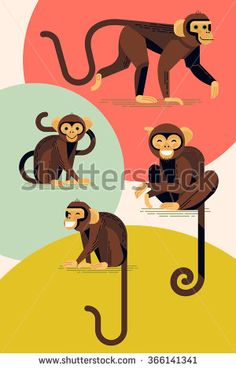 Set of lovely flat design vector monkey characters in different poses. Laughing and smiling apes in stylish and creative geometric style, isolated - stock vector