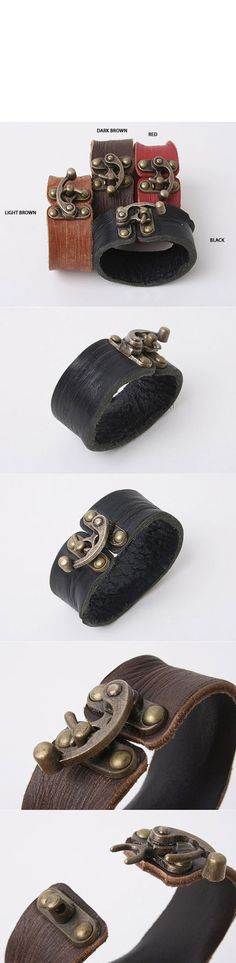 Accessories :: Bracelets :: Uber-cool Leather Wrist Cuff-Bracelet 09 - Mens Fashion Clothing For An Attractive Guy Look