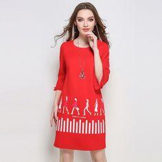 ZHIRUN Women Plus Size Dress Casual Three Quarter Sleeve Printed Shift Dresses L TO 5XL
