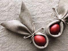 FEITO DE PANO | Não é genial essa idéia para a decoração da mesa de Páscoa? Você pode usar tecidos estampados também! #inspiracao #decoracao #pascoa #DIY #SpenglerDecor