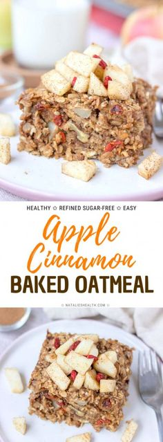 Apple Cinnamon Baked Oatmeal makes the perfect easy HEALTHY breakfast. It's pack… Apple Cinnamon Baked Oatmeal makes the perfect easy HEALTHY breakfast. It's packed with nutrients and sweet fruity flavors. Refined sugar-free and delicious. Breakfast Bread Recipes, Easy Brunch Recipes, Healthy Brunch, Healthy Breakfast Recipes, Best Breakfast, Healthy Baking, Dessert Recipes, Brunch Food, Apple Breakfast