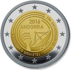 Moeda 2 Euros Comemorativa Andorra 2016 - 25º aniversário da Rádio e Televisão de Andorra Andorra, Piece Euro, Euro Coins, Commemorative Coins, World Coins, Coin Collecting, Silver Coins, Atlantic Ocean, Rings