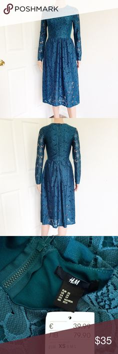 NEW H&M Lace Midi Dress ✔New with tags/ never used. Bought this dress in Bruges, Belgium for €39.99 or around $50. Materials on last photo. ✖No stains, no holes, no damage ✔Reasonable offers or bundle 3 items or more to get 20% discount. ✔Same day shipping ✔FREEBIE ✔Packaging - your item is wrapped in a new gift tissue, placed in a new plastic shopping bag & topped with a thank you card. ✔Inquiries, questions and requests are welcome. ✖No outside PP transaction and no trades. H&M Dresses…