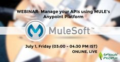 Free #Webinar-Understand on how to manage, configure and SLA in APIs and deploy using #MULE's Anypoint Gateway  | 01 July, FRIDAY (15:00 - 16:30 IST).  http://www.springpeople.com/webinars/manage-your-apis-using-mules-anypoint-platform?utm_source=Pinterest&utm_medium=Social&utm_campaign=Brand_Pinterest_WB_MuleSoft_310516