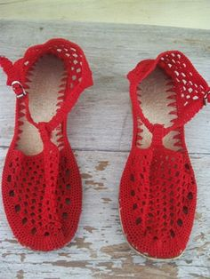 crocheted red shoes