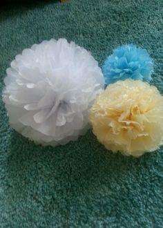 12 hanging Wedding Party Tissue paper pompoms Pom Poms paper Balls Decorations