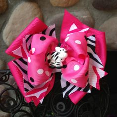 Pretty Pink and Black Zebra hair bow by MegansHairCandy on Etsy, $13.00