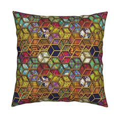 Catalan Throw Pillow featuring METALLIC DOUBLE MIX HEXIES GOLD by paysmage | Roostery Home Decor