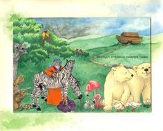 by Leann Vineyard Cooper...Noah's Ark mixed media drawing print  2 x 2 by leannvc on Etsy, $20.00