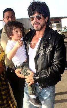 Shah Rukh Khan with son AbRam at the Mumbai airport. #Bollywood #Fashion #Style #Handsome #Cute