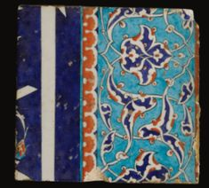 An Iznik Polychrome Tile, Turkey, circa 1580 of square form, decorated in underglaze cobalt blue and relief red against a light blue background with interlacing split-palmettes and a border edge with calligraphic elements by Islamic World, Islamic Art, Middle Eastern Art, Museum Art Gallery, Antique Tiles, Oriental Pattern, Mosaic Tiles, Mosaics, Pottery Art