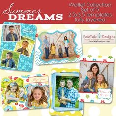 Photoshop Templates for Photographers - Summer Dreams Wallet Collection by @FotoTale Designs