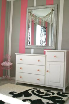 Semi-big girls room, striped walls