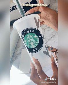 Watch me make this Starbucks Tumbler - @thebagjunkishop Coffee Art, Hot Coffee, Coffee Cups, Starbucks Tumbler, Handmade Bags, Shopping Bag, Cricut, Personalized Items, Mugs
