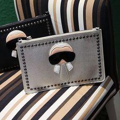 New Cartoon design personalized fashion Lafayette rivets envelope bag clutch purse handbags casual shoulder bag black & silver