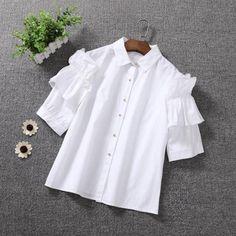 Н-4 в рукав хлопок рубашки новой летней корейской версии сладкий принцесса Вава Шаня воланами белые рубашки женские модели - Taobao