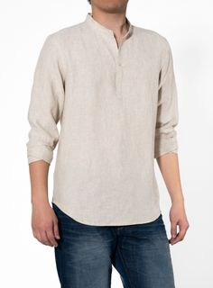 Band collar shirt:standing band-shaped collar that encircles the neck without a full turndown or a collar Moderate