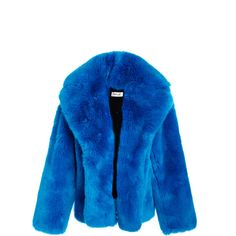 Diane von Furstenberg Faux Fur Jacket (£480) ❤ liked on Polyvore featuring outerwear, jackets, blue, long sleeve jacket, blue jackets, diane von furstenberg, blue faux fur jacket and oversized jacket
