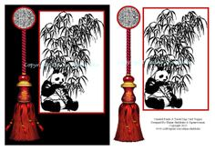 Oriental Panda and Tassel Card Topper to Download by DigitalHeaven, £0.80