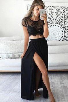 Prom Dresses, Long Prom Dresses, Prom Dresses Lace, Lace Black Prom Dresses, Prom Dresses Two Piece, Prom Dresses 2019 #PromDressesTwoPiece #PromDresses2019 #LaceBlackPromDresses #LongPromDresses #PromDressesLace #PromDresses
